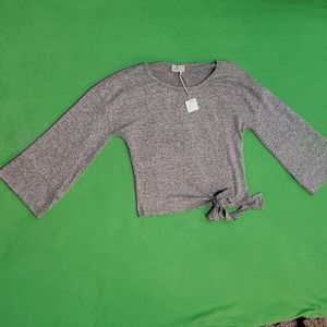 Poof Apparel Gray Long Sleeve Wide Arm Tie Off M